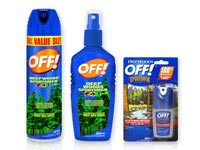 Multiple bottles of Off! brand Deet based mosquito repellant.