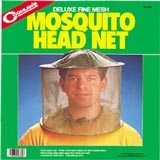 A mosquito head net box depicting a man wearing a mosquito head net.