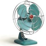 An vintage-looking blue fan.