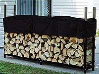 An elevated, covered wood pile.
